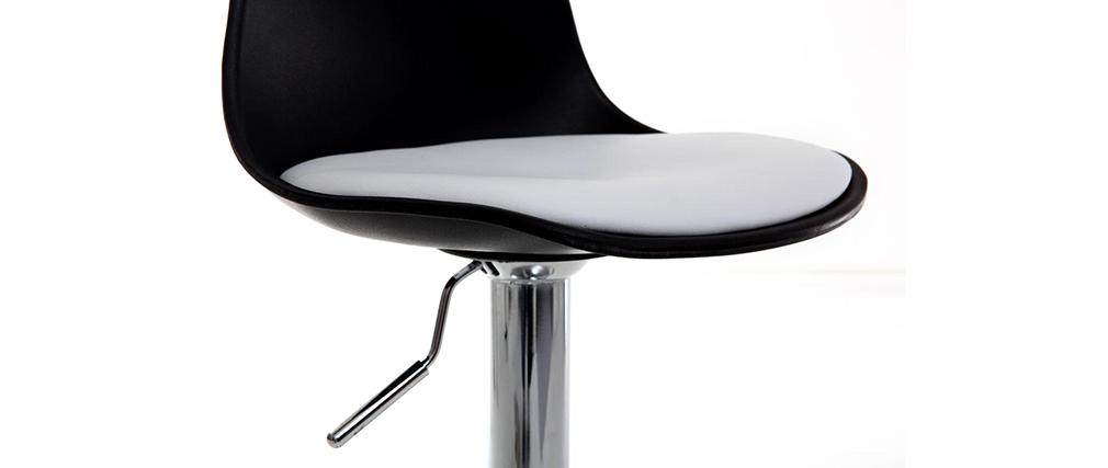 Lote de 2 taburetes de diseño negro y blanco STEEVY