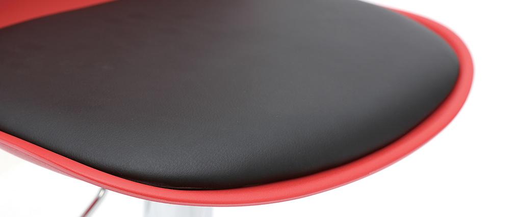 Lote de 2 taburetes de diseño rojo y negro STEEVY