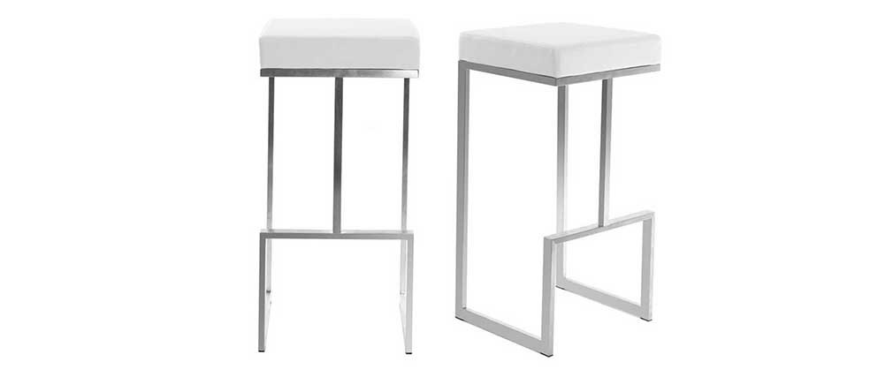 Lote de 2 taburetes diseño blanco Omicron