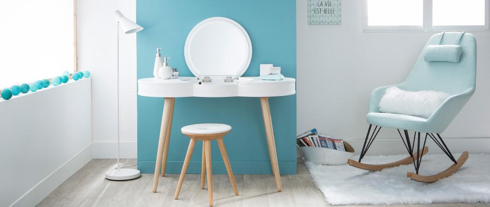 Lote de 2 taburetes diseño madera natural y blanco NORDECO