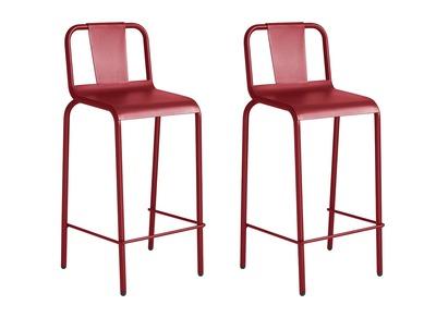 Lote de 2 taburetes exterior aluminio rojo 76cm RHODES