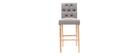 Lote de 2 taburetes/sillas de bar tejido gris claro A75cm RIVOLI