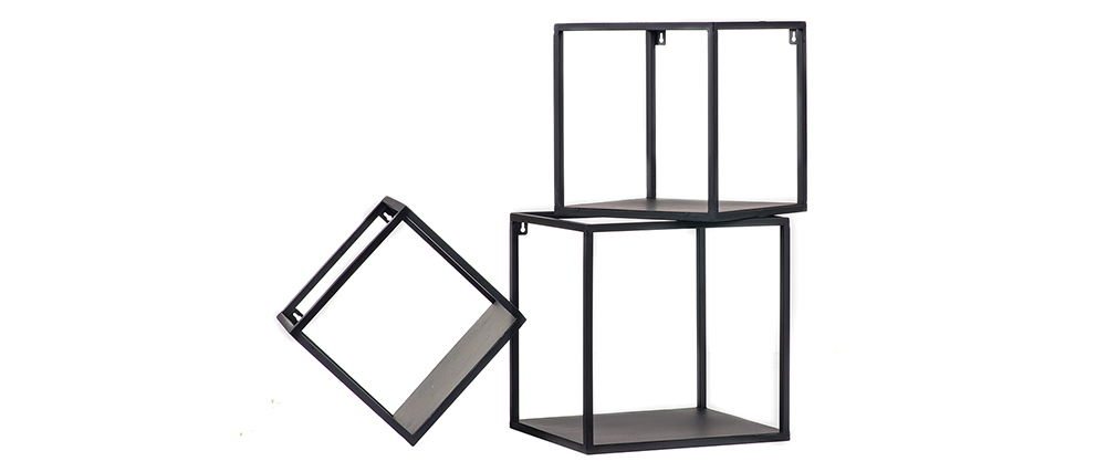 Lote de 3 estanterías de pared cuadradas industrial metal negro KARL