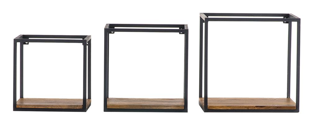 Lote de 3 estanterías de pared metal negro y mango cuadradas YPSTER