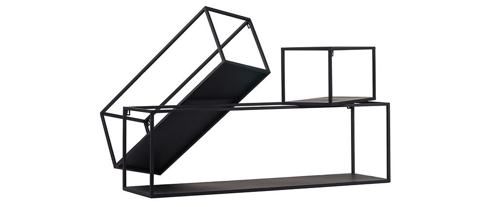 Lote de 3 estanterías de pared rectangulares metal negro KARL