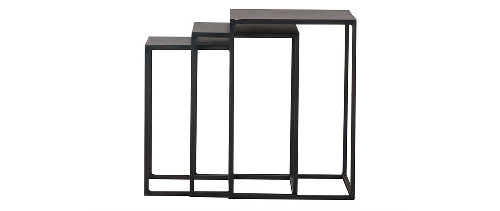 Lote de 3 mesas nido metal negro KARL