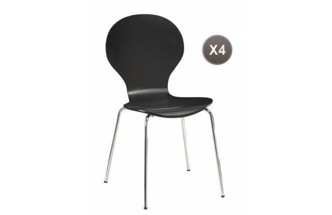 Lote de 4 sillas de cocina comedor de color negras abigail for Sillas cocina negras