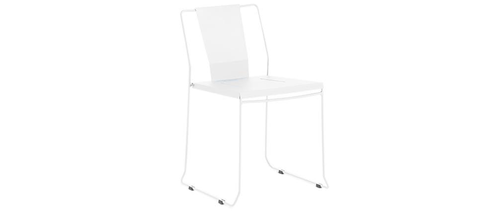 Lote de 4 sillas de exterior diseño metal blanco TENERIFE