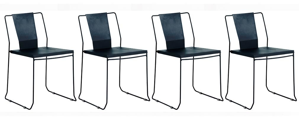 Lote de 4 sillas de exterior diseño metal negro TENERIFE
