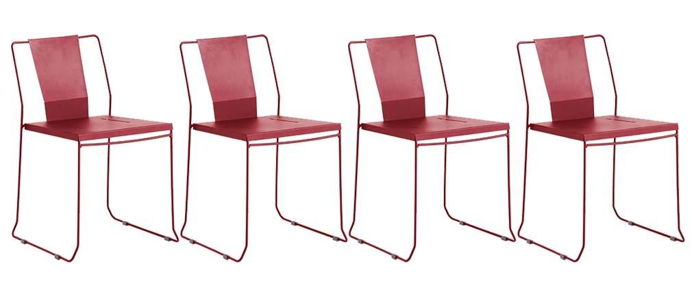 Lote de 4 sillas de exterior diseño metal rojo TENERIFE
