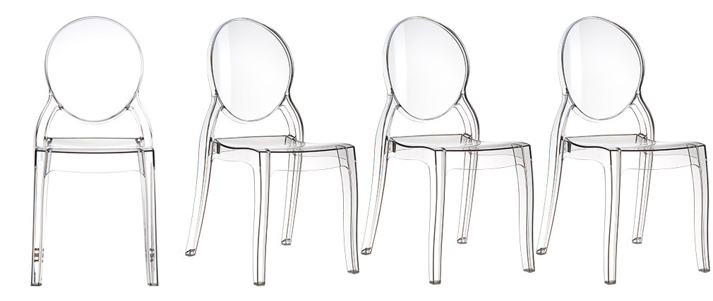 Lote de 4 sillas diseño medallón transparente interior/exterior LOUISON