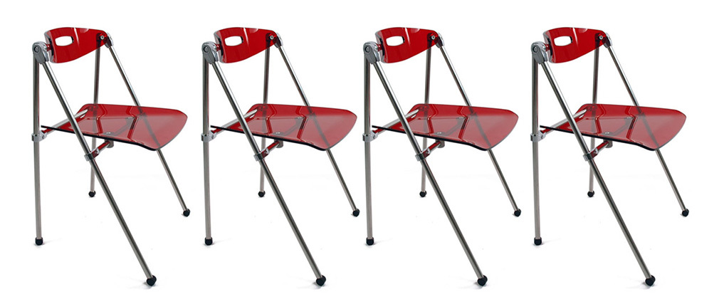 Lote de 4 sillas plegables Julie de diseño color rojo