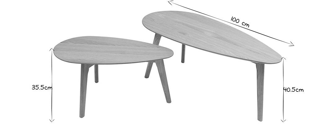 Lote de dos mesas de centro roble ARTIK