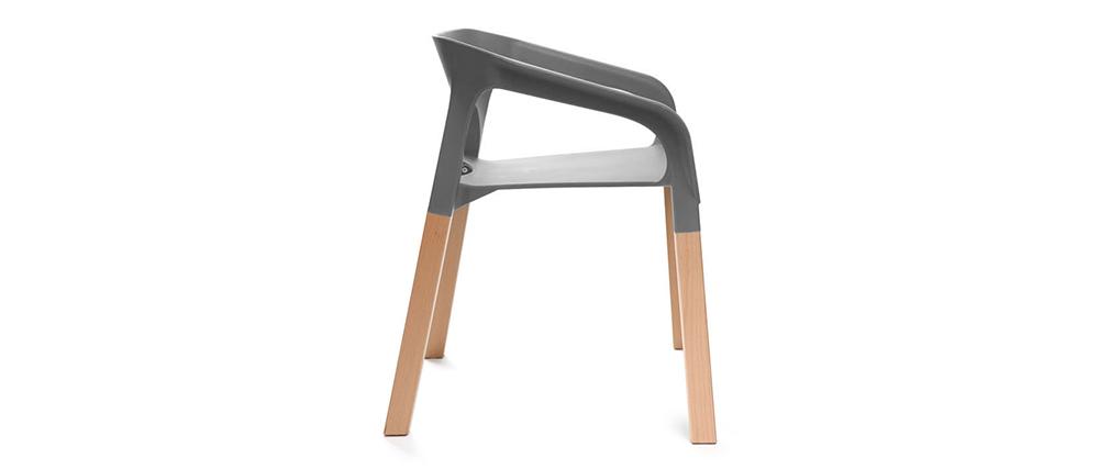 Lote de dos sillas diseño escandinavo gris HELIA