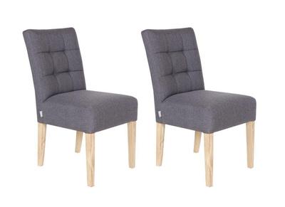Lote de dos sillas en tela gris antracita y patas en roble NINA