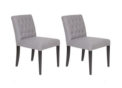 Lote de dos sillas en tela gris y patas oscuras RITA