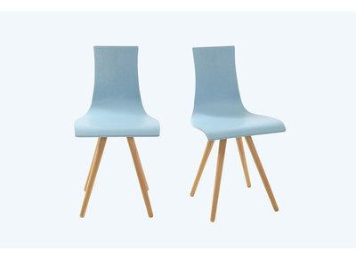 Lote de dos sillas madera tintado azul BALTIK