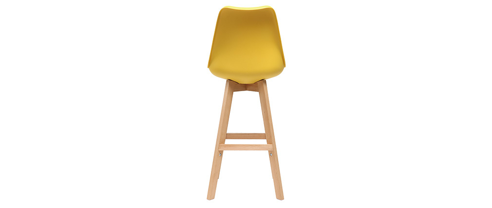 Lote de dos taburetes de bar diseño amarillo y madera 65cm PAULINE