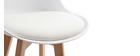Lote de dos taburetes de bar diseño blancas y madera PAULINE