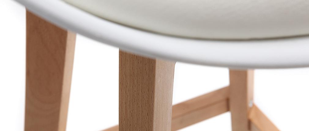 Lote de dos taburetes de bar diseño blancos y madera 65cm PAULINE