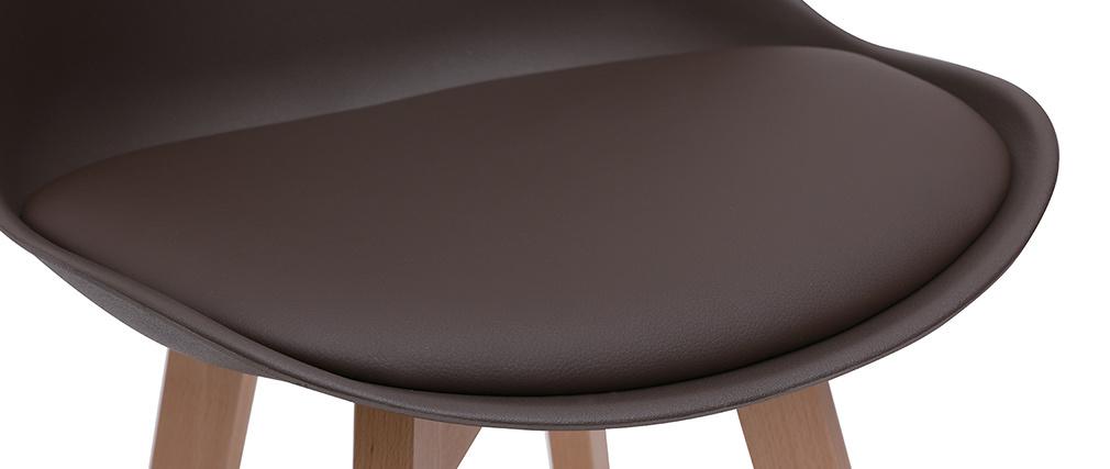 Lote de dos taburetes de bar diseño chocolate y madera 65cm PAULINE
