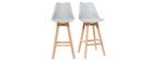 Lote de dos taburetes de bar diseño gris claro y madera 75cm PAULINE