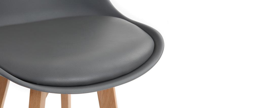 Lote de dos taburetes de bar diseño gris y madera PAULINE