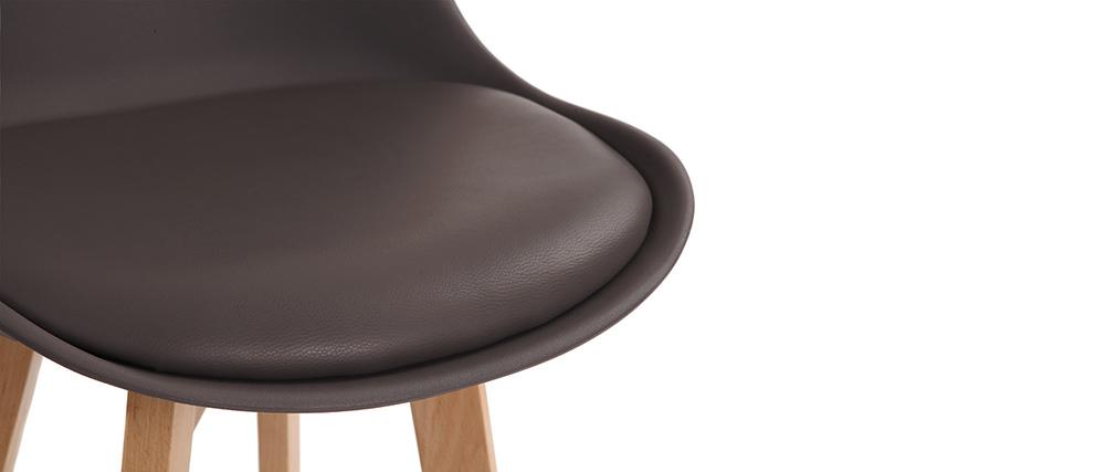 Lote de dos taburetes de bar diseño marrón y madera PAULINE