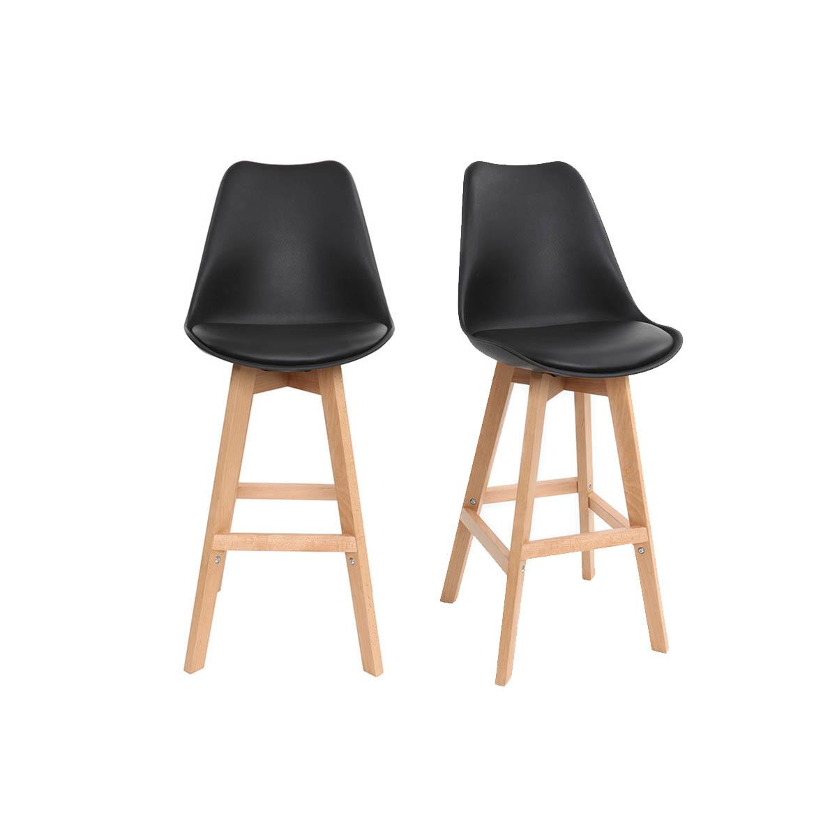 Lote de dos taburetes de bar diseño negro y madera PAULINE