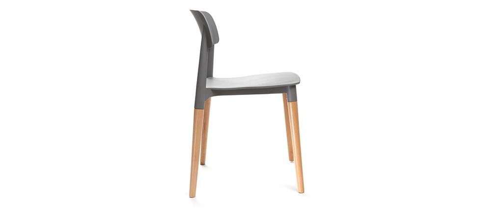 Lote de sillas de diseño escandinavo grises GILDA
