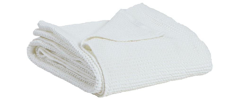 Manta en algodón blanco roto 140 x 200 cm YAM