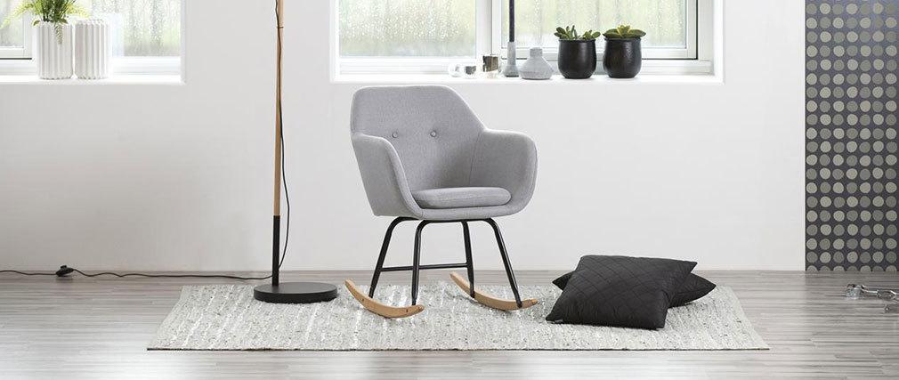 Mecedora diseño en tejido gris claro KENDALL