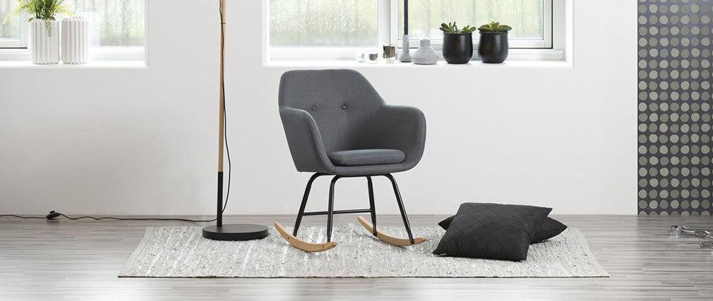 Mecedora diseño en tejido gris oscuro KENDALL