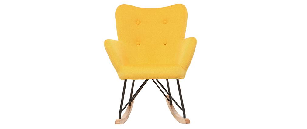 Mecedora diseño tejido amarillo patas metal y roble BABY BRISTOL
