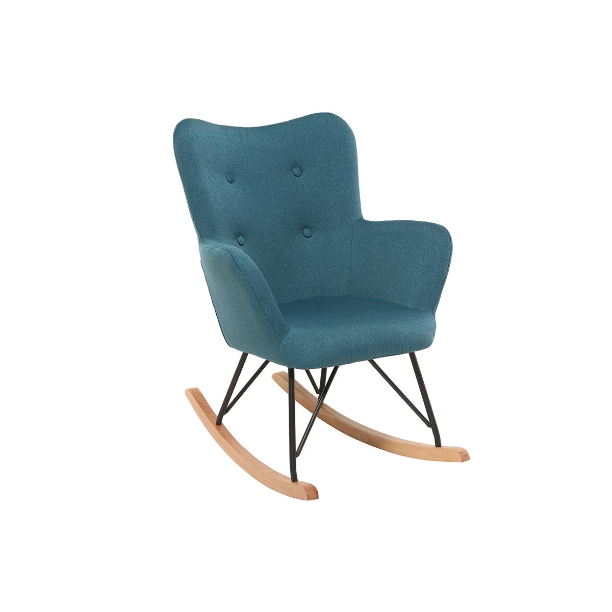 Mecedora diseño tejido azul patas metal y roble BABY BRISTOL