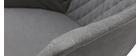 Mecedora en tejido gris claro y metal blanco SWING