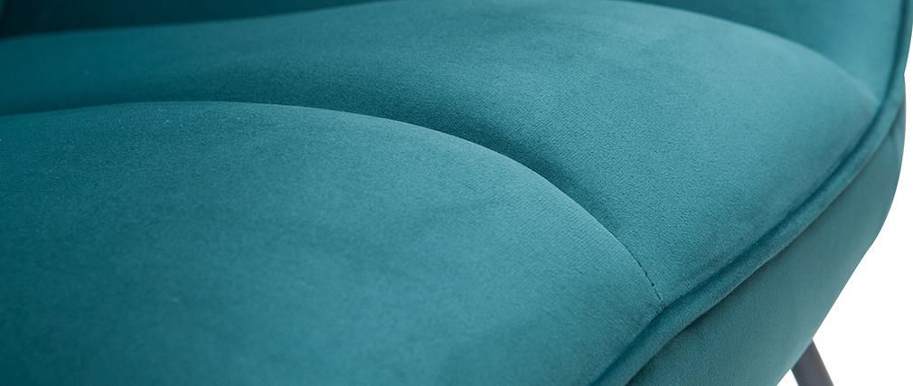 Mecedora moderna en tejido efecto terciopelo azul petróleo BILLIE