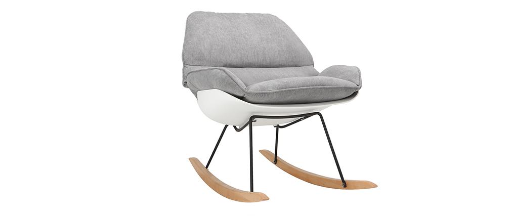 Mecedora moderna parte exterior blanca y tejido gris KOKON