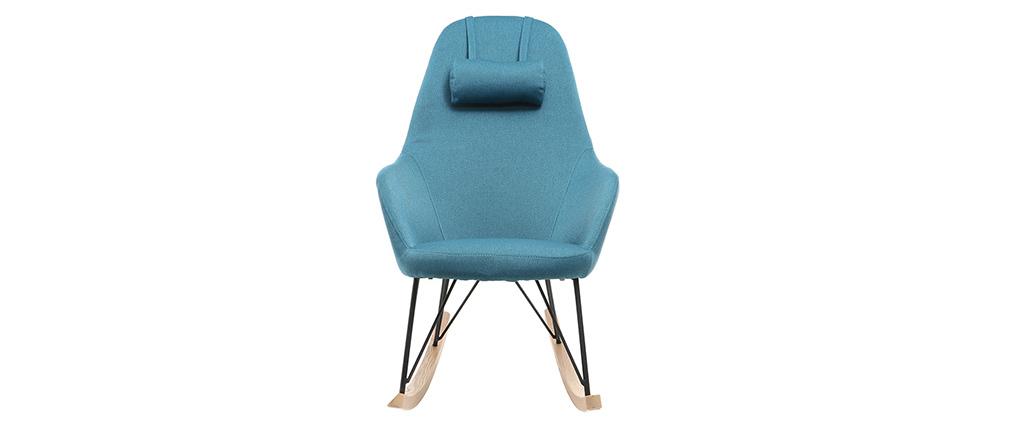 Mecedora tejido azul petróleo patas metal y fresno JHENE