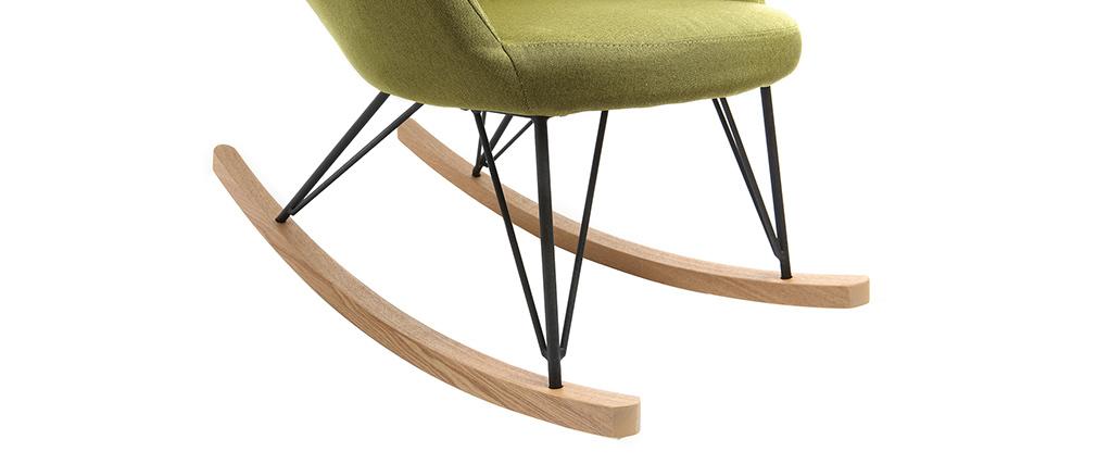 Mecedora tejido verde patas metal y fresno JHENE