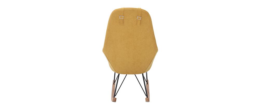 Mecedora terciopelo amarillo patas metal y madera JHENE