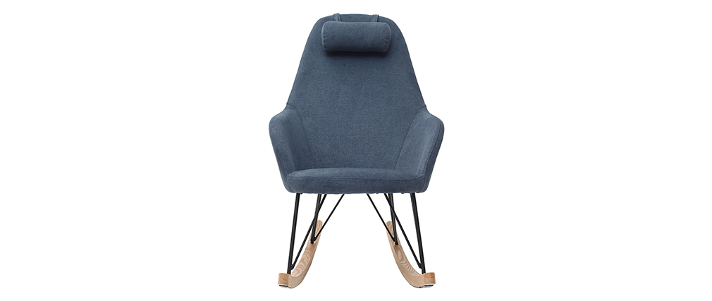 Mecedora terciopelo azul patas metal y madera JHENE