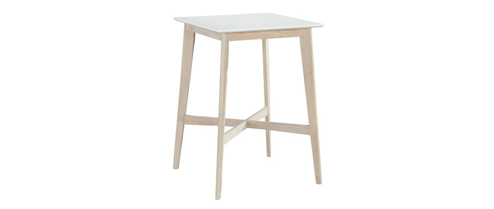 Mesa alta cuadrada blanca y madera clara LEENA