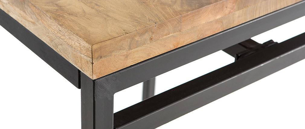 Mesa alta cuadrada en madera de mango y metal negro YPSTER
