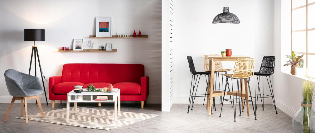 Mesa alta cuadrada madera clara roble LEENA