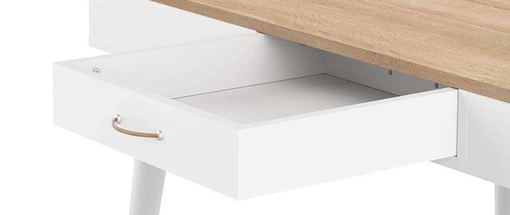 Mesa alta nórdica blanca y madera STRIPE