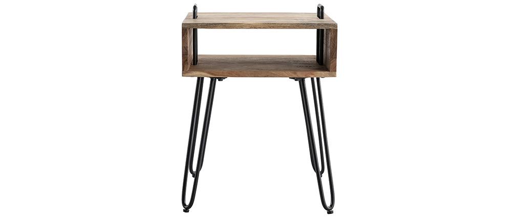 Mesa auxiliar con almacenaje en madera de acacia y metal negro ALVIN