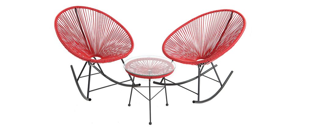 Mesa auxiliar de jardín hilo de resina roja BELLAVISTA