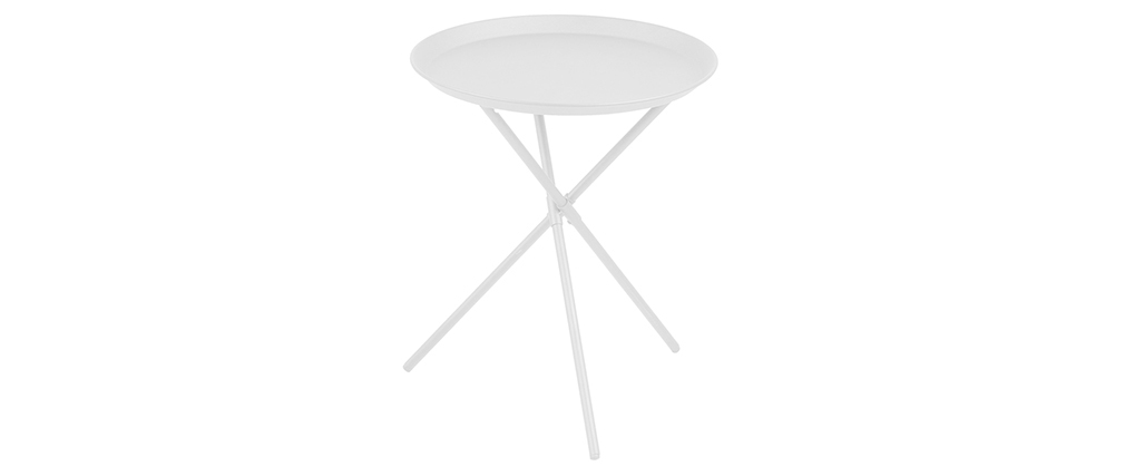 Mesa auxiliar diseño metal blanco MIKADO