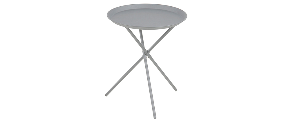 Mesa auxiliar diseño metal gris MIKADO